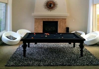Sleek Dining Room Pool Table